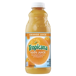 Pepsico Tropicana 100 Percentage Orange Reconstituted Juice Plastic - 32 Oz.