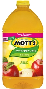 Motts 100 Percent Apple Regular Juice Plastic - 128 Oz.