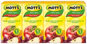 Motts 100 Percentage Mini Fruit Punch Juice - 4.23 Fl. Oz.