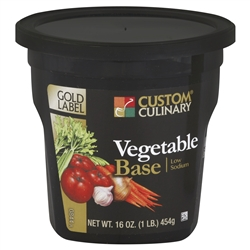 Custom Culinary Low Sodium Gold Label Vegetable Base No Msg Added - 1 Lb.