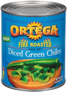 B and G Foods Ortega Diced Fire Roasted 26 oz. Green Chilies