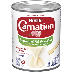 Nestle Carnation Evaporated Fat Free Milk Vitamins A and D Added - 12 Fl. Oz.