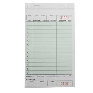 National Checking Guest Check Carbonless Green 13 Lines - 4.2 in. x 7.25 in.