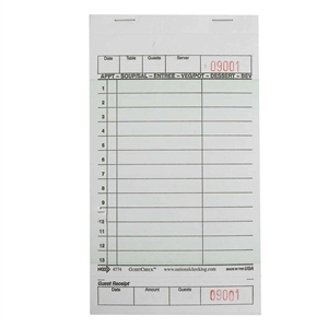 National Checking Guest Check Board Green 13 Lines - 4.25 in. x 7.25 in.