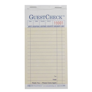 National Checking Carbon Guest Check Paper Salmon 2 Part - 3.5 in. x 6.75 in.