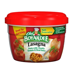Conagra Chef Boyardee Microwavable Entree Lasagna and Beef - 7.5 Oz.
