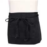 BVT-Chef Revival Black 3 Pocket 12 in. x 24 in. Waist Apron