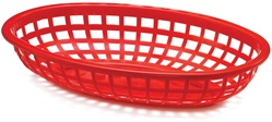 Tablecraft  Plastic Oval Baskets Red - 9.38 in. x 6 in. x 1.88 in.