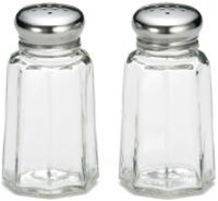 Tablecraft Stainless Steel Top Salt and Pepper Paneled Shaker 1 Oz.