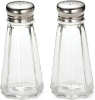 Tablecraft Stainless Steel Top Salt and Pepper Paneled Shaker 3 Oz.