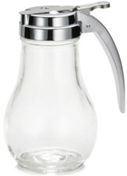Tablecraft Chrome Metal Top Teardrop Syrup Dispenser - 14 Oz.