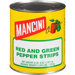 Mancini Red and Green Pepper Strips 10 Can