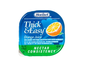 Hormel Thick and Easy Orange Juice Nectar Drink Consistency Portion Control Cups - 4 Oz.