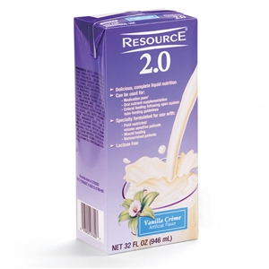 Nestle Healthcare Resource 2.0 Brik Pak Vanilla Creme - 32 Oz.