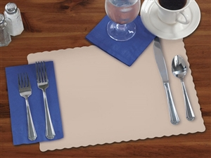 Smith Lee Scalloped Edge Placemat Beige 9.75 in. x 13.75 in.