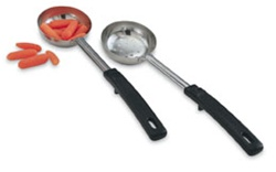 Vollrath Stainless Steel Solid Spoodle With Grip and Serve Handle Black - 3 Oz.