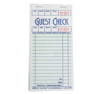 National Checking Guest Check Paper Green 16 Line - 3.5 in. x 6.75 in.