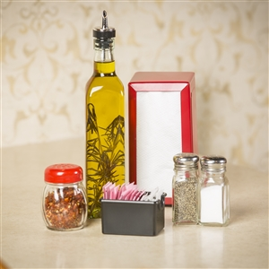 Tablecraft Stainless Steel Square Glass Top Salt and Pepper Shaker 2 Oz.