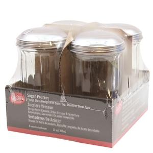 Tablecraft Side Flap Top Glass Sugar Shaker - 12 Oz.