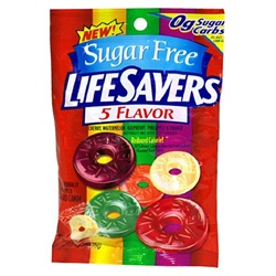 Wrigleys Lifesaver Sugar Free 5 Flavor Candy Hanging Bag  - 2.75 Oz.