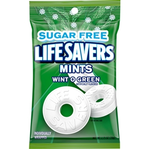 Wrigleys Lifesaver Sugar Free Wintergreen Peg Candy Bag - 2.75 Oz.