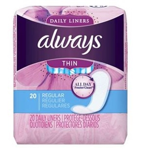 Procter and Gamble Always Regular Thin Pantiliner UnScented