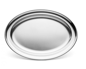 Walco Stainless Steel Oval Serving Tray - 16.31 in. x 11.19 in.