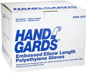 Embossed Elbow Poly Disposable Gloves Clear
