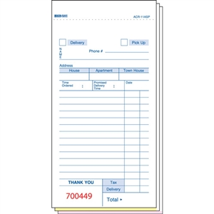 Daymark No Carbon Guest Check Delivery Form 3 Part