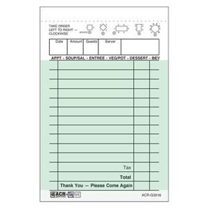 Daymark 1 Part Bond Guest Check Green