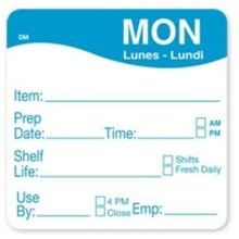 Daymark Dissolvemark Shelf Life Monday Label - 2 in. x 2 in.