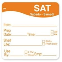 Daymark Dissolvemark Shelf Life Saturday Label - 2 in. x 2 in.