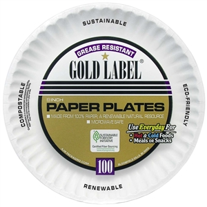 AJM Grease Resistant Gold Label 9 in. Paper Plate