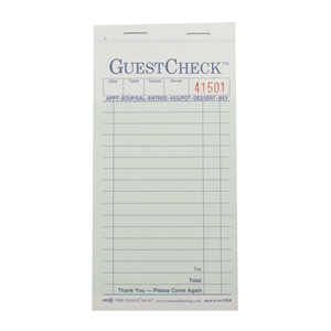 National Checking Carbonless Guest Check Paper Green 15 Lines - 3.40 in. x 6.75 in.