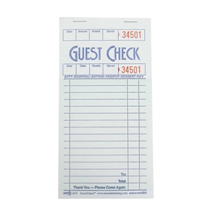 National Checking Guest Check Shrink Wrap Paper Green 16 Lines