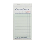National Checking Guest Check Carbonless loaf Green 17 Lines - 3.4 in. x 6.75 in.