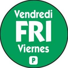 National Checking Trilingual Permanent Label Friday Green Circle - 0.75 in.
