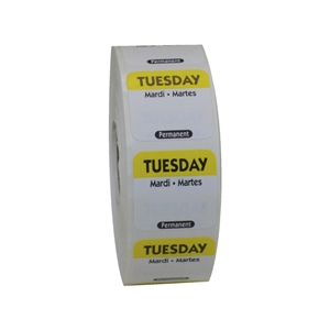 National Checking Trilingual Permanent Label Tuesday Yellow - 1 in. x 1 in.