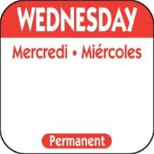 National Checking Trilingual Permanent Label Wednesday Red - 1 in. x 1 in.