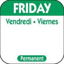 National Checking Trilingual Permanent Label Friday Green - 1 in. x 1 in.