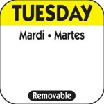 National Checking Trilingual Removable Label Tuesday Yellow - 1 in. x 1 in.