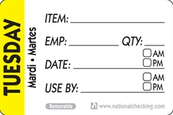 National Checking Trilingual Item-Date-Use By Removable Label Tuesday Yellow - 2 in. x 3 in.