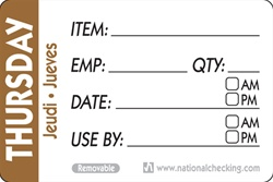 National Checking Trilingual Item-Date-Use By Removable Label Thursday Brown - 2 in. x 3 in.