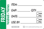 National Checking Trilingual Item-Date-Use By Removable Label Friday Green - 2 in. x 3 in.