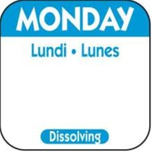 National Checking Trilingual Dissolvable Label Monday Blue - 1 in. x 1 in.