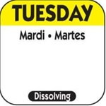 National Checking Trilingual Dissolvable Label Tuesday Yellow - 1 in. x 1 in.