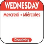 National Checking Trilingual Dissolvable Label Wednesday Red - 1 in. x 1 in.