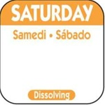 National Checking Trilingual Dissolvable Label Saturday Orange - 1 in. x 1 in.