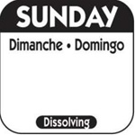 National Checking Trilingual Dissolvable Label Sunday Black - 1 in. x 1 in.