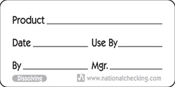 National Checking Product Dissolvable Label - 1 in. x 2 in.